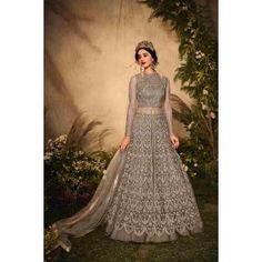 Buy Gowns - Discover the wide range of designer gowns online Green Gown Dress, Grey Gown, Gray Dress, Floor Length Gown, Gowns Online, Neck Pattern, Designer Gowns, Festival Party, Gray Color