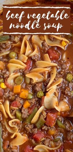 Beef Vegetable Noodle Soup Beef Vegetable Noodle Soup is so easy to make with convenient ingredients! Ground beef, stewed tomato beef broth base, vegetables, and egg noodles. Cooks in one pot on the stove and is ready in 30 minutes. Vegetable Noodle Soup, Beef Noodle Soup, Beef And Noodles, Egg Noodles, Easy Soup Recipes, Chili Recipes, Cooking Recipes, Recipes Using Beef Broth, Soup With Beef Broth