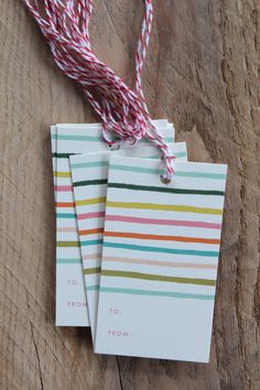 Happy Free Stripe Gift Tags, Set of 10