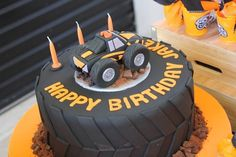 Cake at a Monster Truck Party #monstertruck #partycake