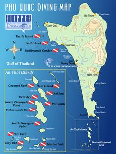 Dive sites map in Phu Quoc Island