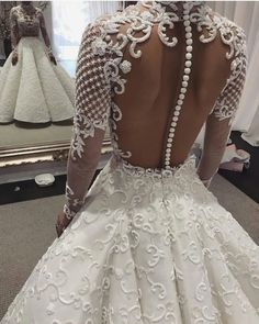 Just one of our many stunning gowns 😍 Beautiful wedding dress with an incredible illusion back! 💕 Double tap if this could be your dream dress … . Custom Wedding Dress, Custom Dresses, Designer Wedding Dresses, Bridal Dresses, Wedding Gowns, Bridesmaid Dresses, Wedding Bells, Wedding Expenses, Wedding Planner