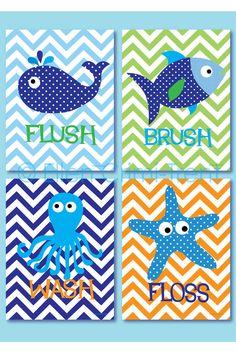Kids Bathroom Art Sea Creature Bathroom print