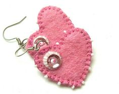 HEARTS set - hand embroidered felt earrings - handmade felt jewelry - Heart - pink and white colors