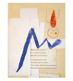 « À toute épreuve », maquette, typo, gouache, aquarelle, collage, 1958 [Joan Miró, Paul Eluard] 1/3
