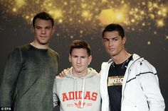 Messi and Ronaldo, here with Manuel Neuer, ... They sure don't look too happy... Lol! Love my Messi though ❤️