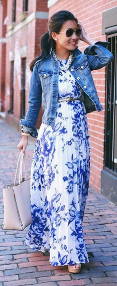 Dress and jacket floral blue and white