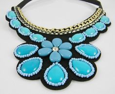 Black Leather Backed Turquoise and Shades of Blue Color Beaded BIB Collar Statement NECKLACE