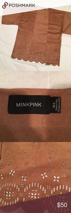 Minkpink Lackawanna Blues Suede Kimono Super soft! Only worn twice. Laser cut design along scalloped hem MINKPINK Jackets & Coats Capes