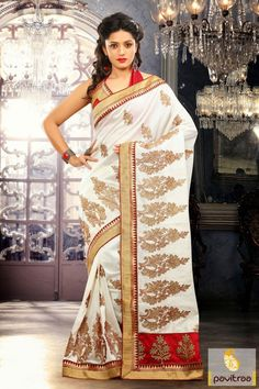 Adorable red and white wedding embroidery saree is looking chic with gorgeous butti works and fine lace patti border on material of outfit. http://www.pavitraa.in/store/embroidery-saree/  #pavitraa, #sarees, #designersarees, #partywearsaree, #weddingsarees, #utsavesaree, #utsavfashion, #bridalsarees, #bollywoodsarees, #printedsarees, #onlinesarees, #onlineshopping, #lehengasarees