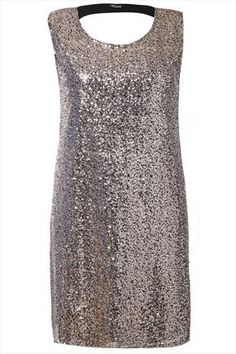 Black And Gold Sequin Shift Dress With Cut Out Back