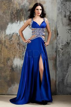 Sexy A-Line Straps Floor-Length Spilt-Front Polina's Evening Dress #ShopSimple