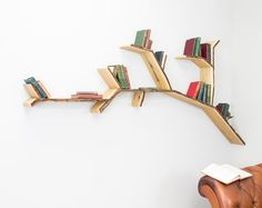Oak Tree Branch Shelf 2.4m wide by 1.2m high - The Perfect Living Room Tree Branch Shelf