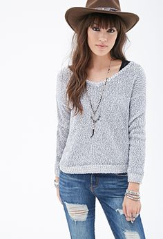 Marled Contrast-Trim V-Neck Sweater | FOREVER21 | #thelatest