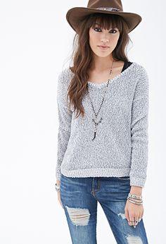 Marled Contrast-Trim V-Neck Sweater | FOREVER21 | #thelatest