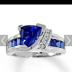 Jared sapphire ring Lab created sapphire triangle cut 10k white gold. Jared Jewelry Rings