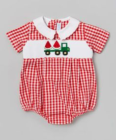 Look what I found on #zulily! Red Watermelon Gingham Bubble Bodysuit - Infant #zulilyfinds