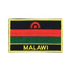 Malawi Flag Patch Embroidered Patch Gold Border Iron On patch Sew on Patch Bag Patch meet you on www.Fleckenworld.com