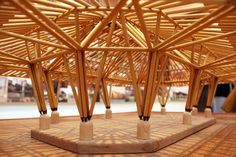 Pergola With Retractable Roof Product – Rooftop Garden Bamboo Structure, Timber Structure, Bamboo Architecture, Architecture Design, Creative Architecture, Weather Storm, Bamboo House, Pergola Curtains, Bamboo Design
