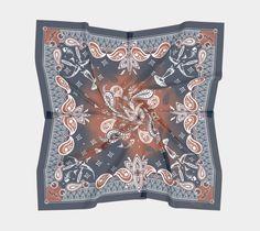 Shroomfish Blue, designer scarf, scarves, pocket squares