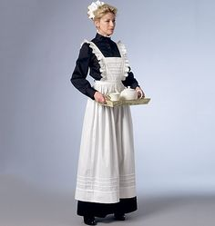 Downton Abbey-inspired historical costume sewing patterns from Butterick. Maid's uniform and woman's dress. Maid Outfit, Maid Dress, Victorian Maid, Downton Abbey Fashion, Maid Uniform, My Fair Lady, Costume Patterns, Historical Costume, Corsage