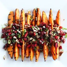 Grilled sweet potatoes with ginger cherry salsa. Totally healthy summer side.