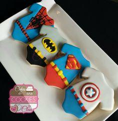 Baby Shower Super Heroes Onesies Cookies www.cakesandcookiesbyclau.com
