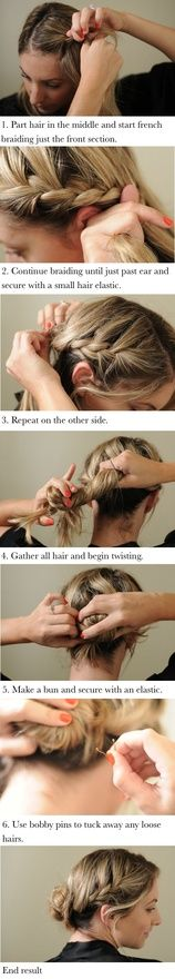 How To: Braided Bun - - I'm all about easy hairstyles for the beach that are quick, but still stylish. I've been doing some sort of variation on a braided bun for years, since it keeps. Loose Hairstyles, Popular Hairstyles, Summer Hairstyles, Pretty Hairstyles, Style Hairstyle, Amazing Hairstyles, Hair Day, My Hair, Weekend Hair
