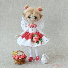 Crochet Doll Clothes, Knitted Dolls, Crochet Dolls, Crochet Hats, Crochet Animal Patterns, Crochet Doll Pattern, Stuffed Animal Patterns, Crochet Animals, Crochet Fairy