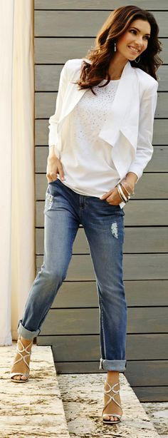 Ray of light: Layer a white linen jacket over a rhinestone-studded tee for cool daytime drama.