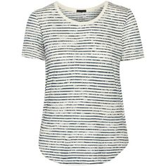 ATM Anthony Thomas Melillo Striped cotton-jersey T-shirt ($49) ❤ liked on Polyvore featuring tops, t-shirts, white, stripe top, loose white tee, stripe tee, loose tee and loose fit t shirts