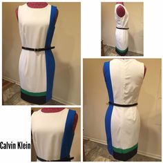 Calvin Klein Size ~ 6 Shell ~ 63% polyester, 32% rayon, 4%  spandex Lining ~ 100% polyester  Shoulders ~ 14 Arm ~ sleeveless  Chest ~ 15.5 Waist ~ 14.5 Hips ~ 17 Length ~ 35 Hidden back zipper  Hook & eye Detach belt included from Banana republic White Blue Green Black $36 #Colleens_Collections_6 #Colleens_Collections_available