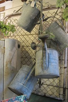Galvanized watering cans - love these
