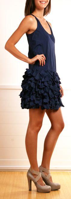 Navy Sleeveless Petal Skirt Dress