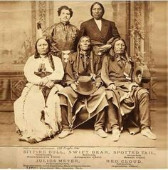 Sitting Bull, Swift Bear, Spotted Tail, Red Cloud, and Julius Meyer.