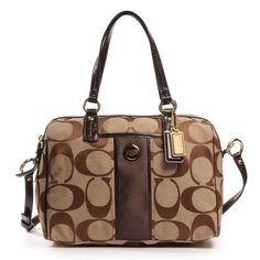 Coach 24364 Khaki  amp  Mahogany Brown Signature Stripe Satchel Handbag   175.00 Coach Handbags d1dbe3fd17e11