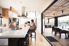 Indoor-outdoor kitchen of Australian prefab