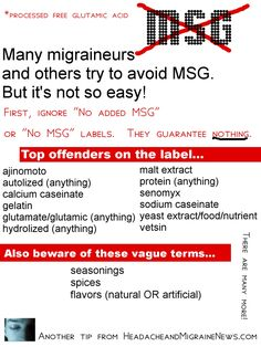 "MSG and Migraine - List of ""offender"" listed on labels."