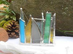 Beach Rainbow Triangle Shaped Rainbow Themed Stained Glass Candle Holder office dorm vacation souvenir home decor keepsake studio sandglass