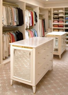 Organized closet with mirrors, closets, drawers, carpet, and enough space for you and him! organization! organization! organization!