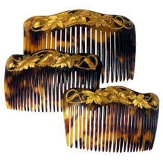 Set of 19th Century Gold & tortoise shell combs
