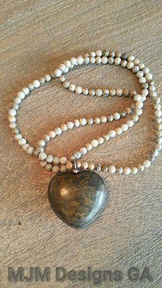 Long necklace natural jasper hand soldered heart by MJMDesignsGA