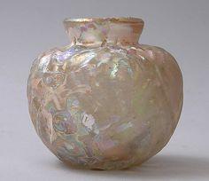 Vase with molded diamond pattern.  10th–11th century. Medium: Glass, colorless; mold blown. Iran.