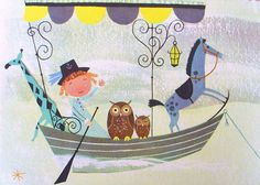 """""""My Bed Is A Boat"""" from A Child's Garden of Verses    llustrations by Alice & Martin Provensen. copyright 1951 """"A Child's Garden of Verses"""" by Robert Louis Stevenson"""