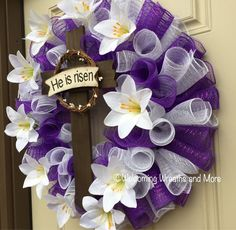 Easter Cross Wreath, Easter Wreath, Lily Easter Wreath, Purple and White Easter Wreath, He is Risen Wreath Christmas Mesh Wreaths, Easter Wreaths, Deco Mesh Wreaths, Spring Wreaths, Wreath Crafts, Diy Wreath, Tulle Wreath, Wreath Making, Wreath Ideas