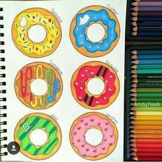 Snapchat, Twitter, Instagram, YouTube, Vine & We Heart It [as donuts] (Drawing by Unknown) #SocialMedia