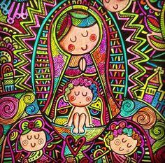 Kids Canvas Art, Our Lady, Madonna, Catholic, Decoupage, Religion, Fonts, Coloring, Mexico