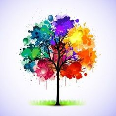 "colorful - look closely - there are balloons in the tree...I really like this as a tattoo idea, I would just have one or two balloons floating away to symbolize ""Let go and Let God"""
