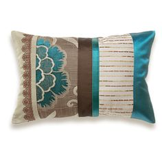 Teal Blue Taupe Brown Beige Lumbar Pillow Case 12 x 18 in IRMA DESIGN Limited Edition, $38.00