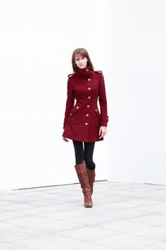 Wine Red Cashmere Coat Fitted Military Style Wool Winter Coat Women Coat Long Jacket - NC431. $139.99, via Etsy.